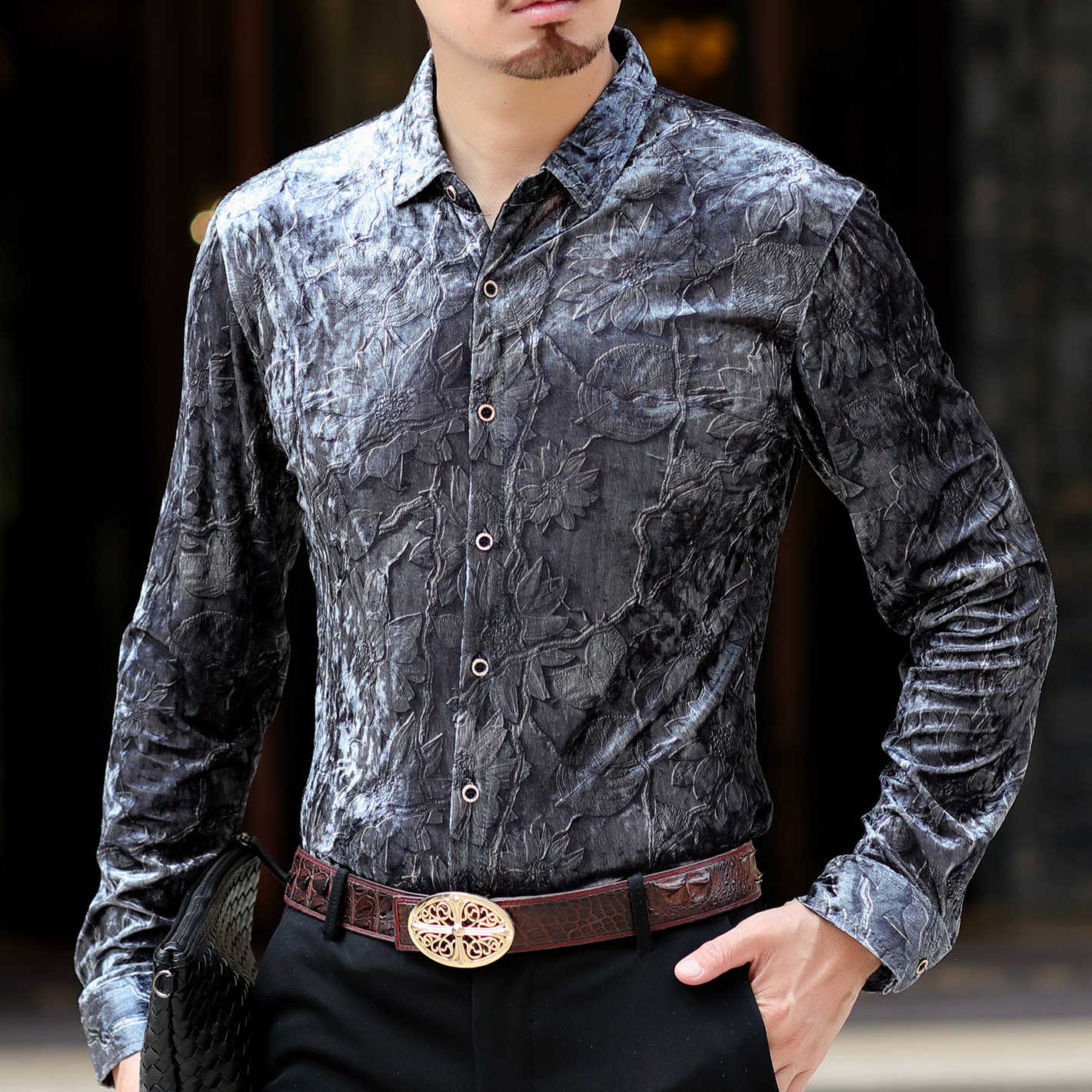 Autumn Designer Shirt Men Camisa Social Masculina De Luxo Camicia Uomo Shirt Men Long Sleeve Velvet Shirt Men Dress Button Down