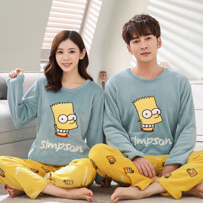 2019 Winter Young Lovers Pajamas Warm Flannel  Women Long-sleeved Pyjama Loose Men Couple Set Sleepwear Top+ Pants Pijama Mujer