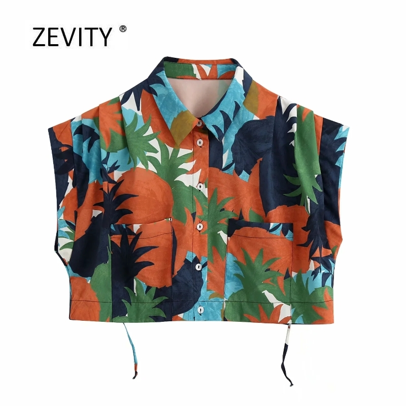 New 2020 Women Contrast Color Tropical Leaves Print Short Smock Blouse Female Double Pockets Patch Shirt Chic Blusas Tops LS6716