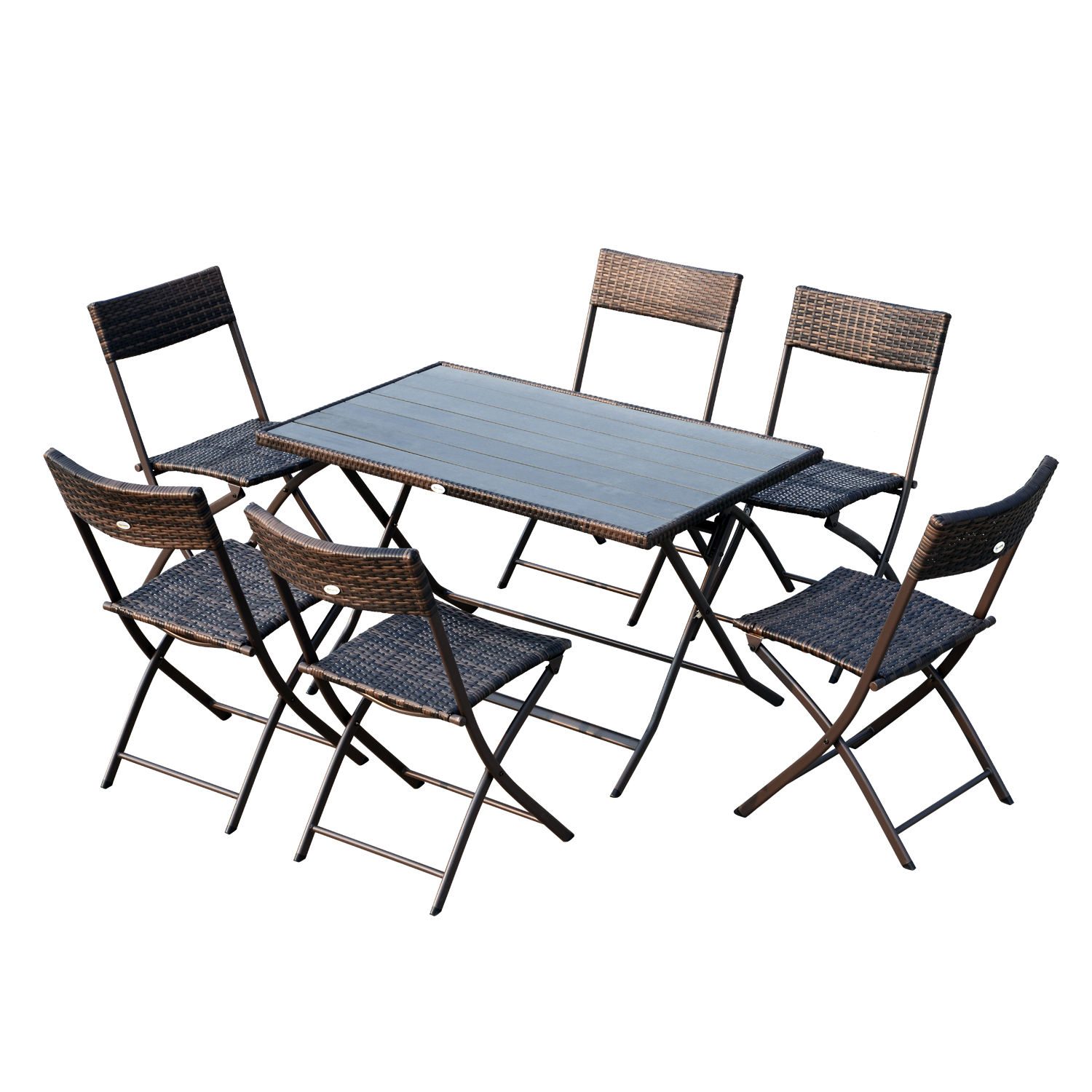 Outsunny Set 7 PCs Rattan Furniture Dining Table With 6 Chairs Garden