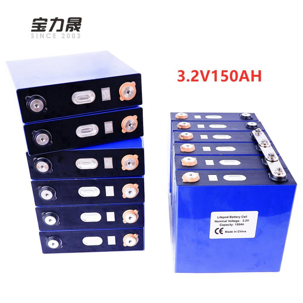 Nuevo 3,2 V 150Ah lifepo4 batería 8 Uds recargable de fosfato de hierro de litio solar 24V150AH 12V300Ah celdas no 120Ah UE EE. UU. Libre de impuestos