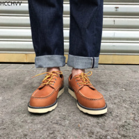 Yellow Retro Wings Handmade mens Boots Vintage Antique Low Top Work Shoes mens Derby Casual Outdoor leather casual Shoes