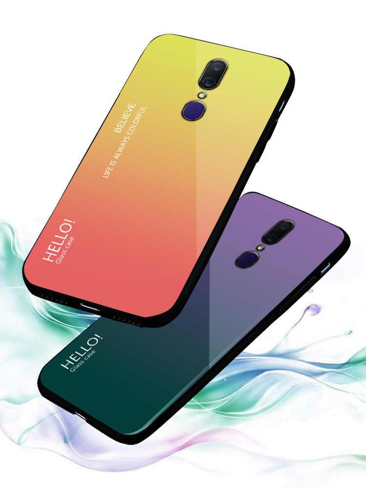Color Gradient Tempered Glass Protective phone Case For OPPO Realme 1 2 3 Pro F11 X C2 K3 Reno Z 10x zoom Pro Cover Case Coque