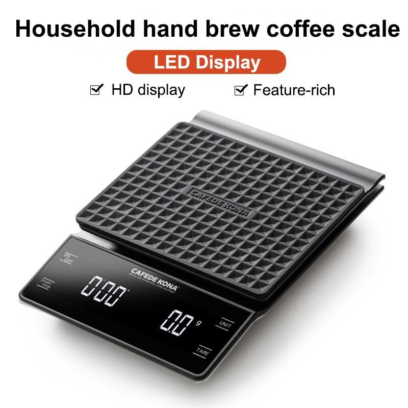 CAFEDE KONA יד בטפטוף קפה בקנה מידה 0.1g/3kg דיוק חיישני מטבח מזון בקנה מידה עם טיימר כולל עמיד למים סיליקון כרית