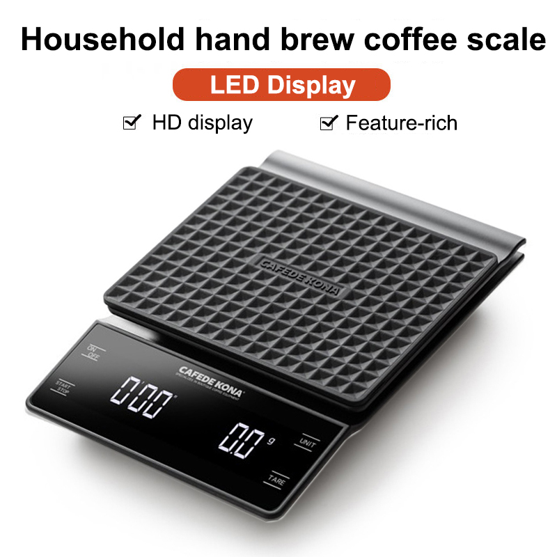CAFEDE KONA Hand Drip Coffee Scale 0.1g/3kg Precision Sensors Kitchen Food Scale With Timer Include Waterproof Silicone Pad