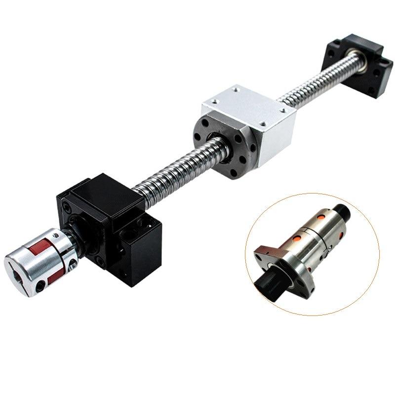 Jeu de vis à billes CNC: vis à billes 25MM SFU2505/SFU2510 extrémité usinée + écrou à billes RM2505 2510 + Support d'extrémité BK20 BF20 + coupleur 17x14mm