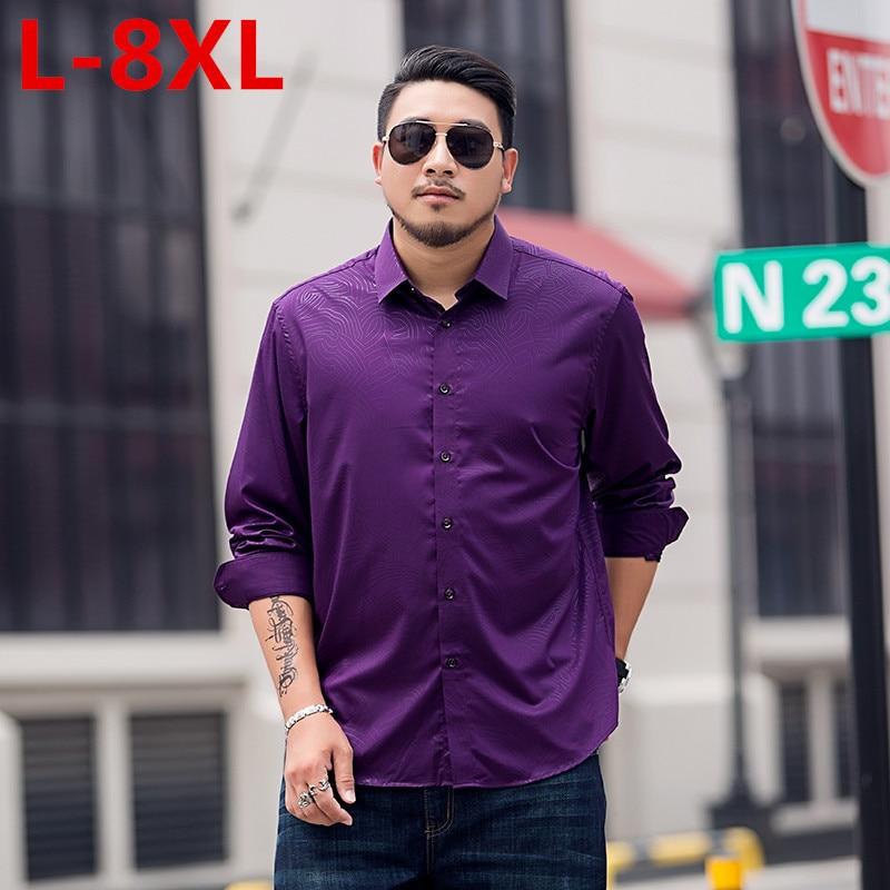 8XL 7X Plus Size Spring Men Casual Shirts Long Sleeve Brand Printed Business Casual Formal Business Print Autumn Men Dress Shirt