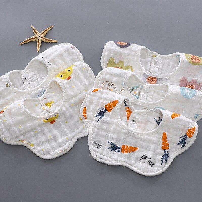 5pcs saliva towel cotton gauze newborn bibs baby boy girl 6-layer petal bib