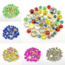 Colorful glass crystal round shape 7 sizes mix 50pcs silver claw flatback sew on rhinestone clothes shoes bags diy colorful trim