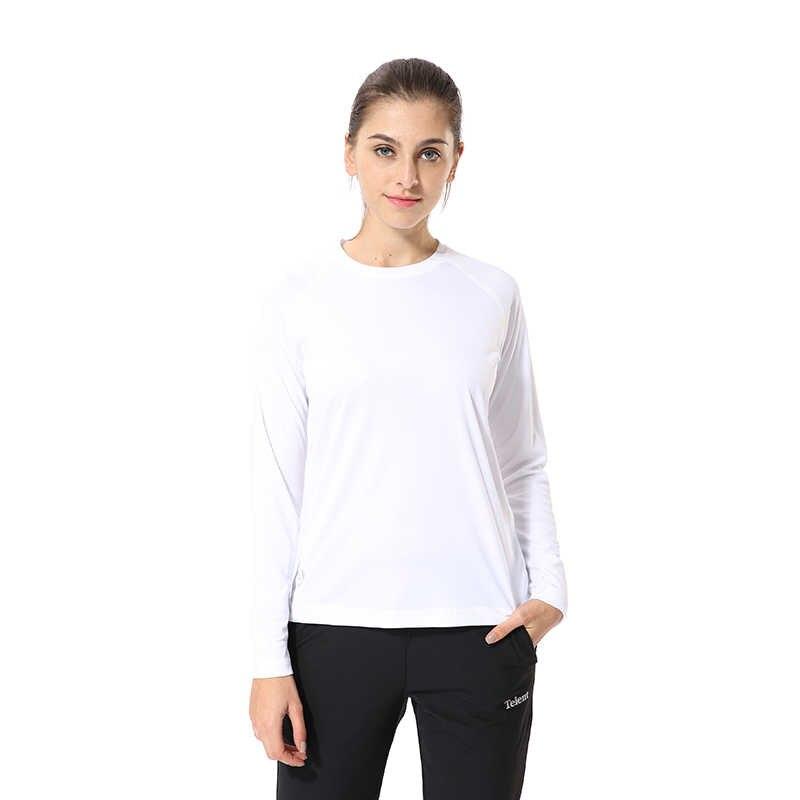 قميص جيسيان للسيدات UPF50 + UV للأنشطة الخارجية تيشيرت رياضي بأكمام طويلة للشاطئ والصيف SWT246 أبيض