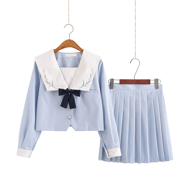 School Dresses Jk Uniforms Blue Sailor Suit With Tie Anime Printed Skirt High School Girls Students
