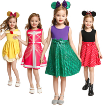 Princess Costume Summer Girls Party Dress Cosplay Anna Elsa Arier Rapunzl Minnie Belle Snow White Captain America Dresses Kids