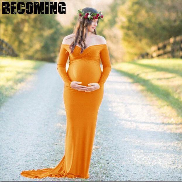 Matenity V Neck Long Sleeve Dress For Photoshoot 2