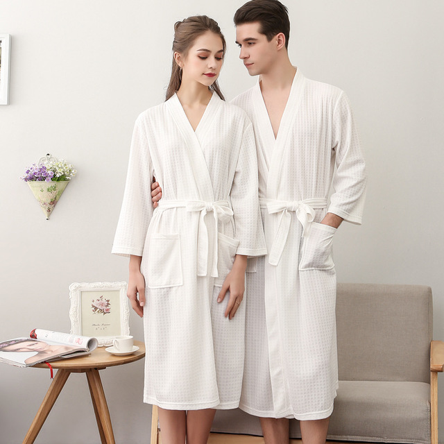 2019 Spring Autumn New V-Neck Couple Robe Sleepwear Bathrobe Casual Solid Chinese Kimono Gown Loose Intimate Lingerie Robes