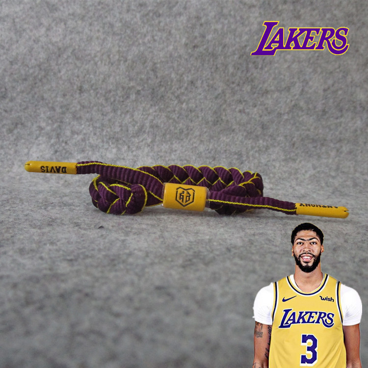 Lakers 3 Davis Heavy Eyebrows Brother Rope Weaving Adjustable Sports Bracelets Shoe Lace Wrist Strap Fans Accessories