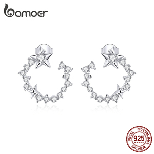 bamoer Authentic 925 Sterling Silver dazzling Round Stars Stud Earrings for Women Silver 925 Jewelry Anti-allergy Gifts BSE360