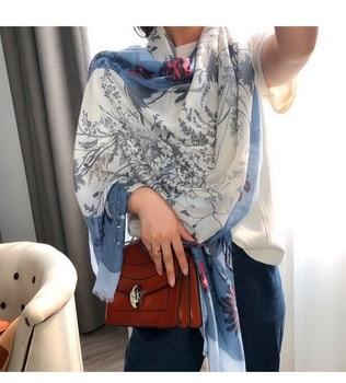 Vintage flower hijab scarf soft women scarves and shawls luxury muslim hijabs