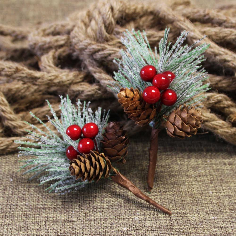 מיני דביק שלג אורן מחט עץ DIY מלאכותי פרח צמח סניף עבור חג המולד מתנה חבילה חג המולד יום קישוט