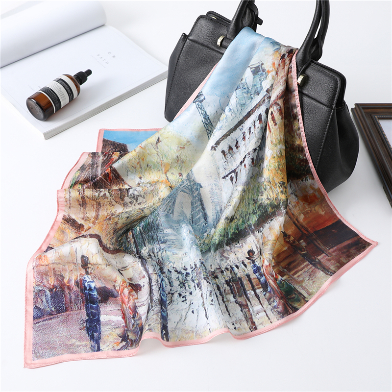 New Square Neck Scarf Women Silk Hair Band Small Foulard Shawls And Wraps Oil Panting Lady Office Neckerchief