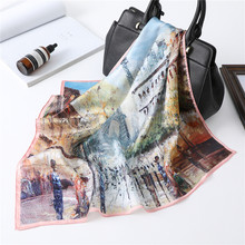 New Square Neck Scarf Women Silk Hair Band Small Foulard Shawls and Wraps Oil Panting Lady Office Neckerchief(China)