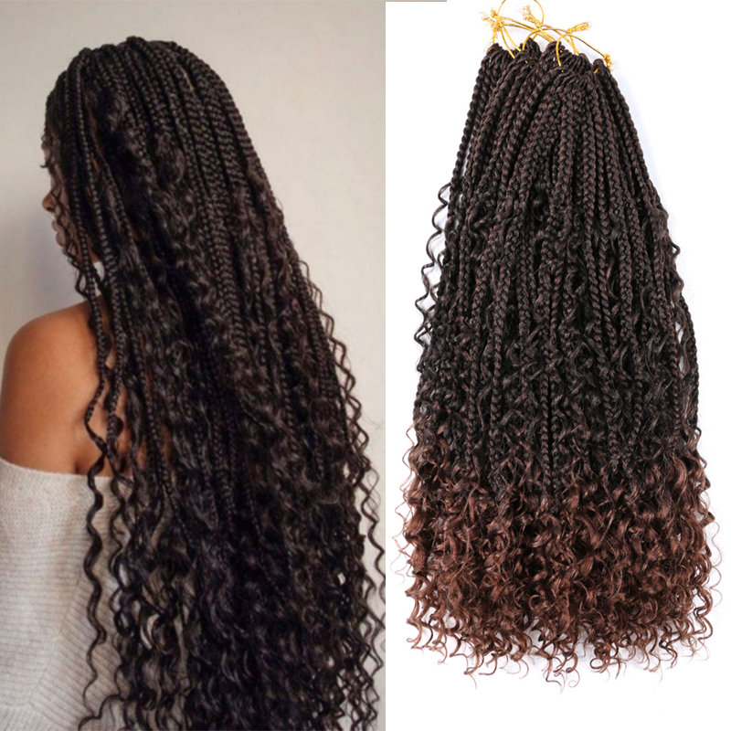 Saisity Ombre Color Messy Long Goddess Braids HairSynthetic Extensions Bohemian Goddess Box Braids with Curls At The Ends Hair