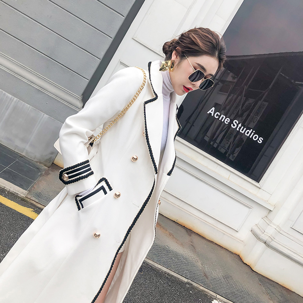 Korean Style Woolen Coat Women Winter Double Breasted Slim Long Military Wool Coat White Pockets Thick Warm Work Office Overcoat