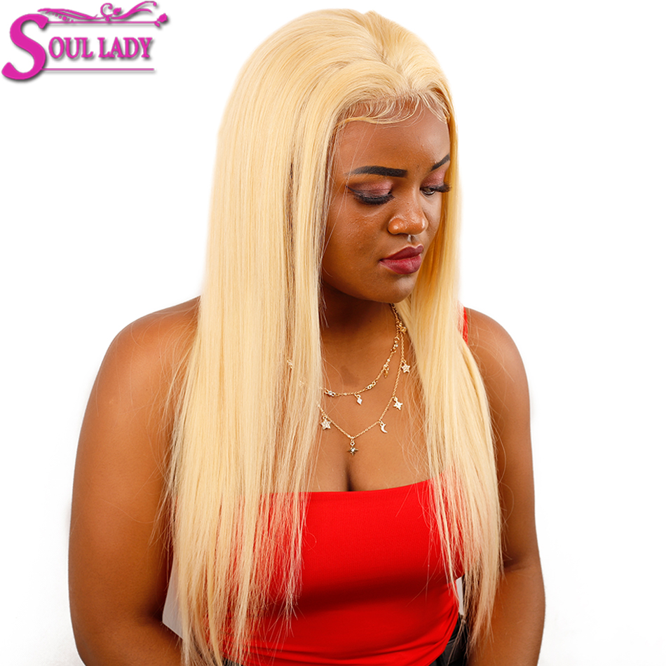 Soul Lady Platinum Blonde Glueless 13*4 Lace Front Wig 613 Frontal Wig Remy Brazilian Straight 613 Human Hair Wigs 180% Density - 6