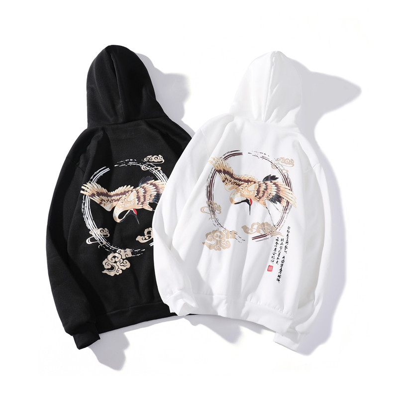 Vintage Red-crowned Crane Print Joker Hoodie Harajuku Oversized Bottoming Men's Sweatshirt Hip Hop Fashion Pocket 2019 Clothes