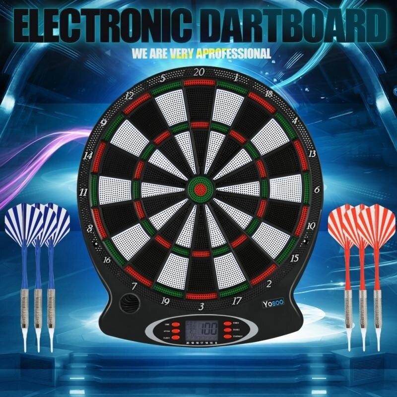 15 pouces électronique jeu de fléchettes LCD affichage automatique Score fléchette plaque Score conseil avec voix 27 jeux avec 6pc fléchettes souples