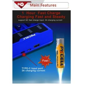Image 3 - 1 pces pkcell carregador de bateria inteligente para 1.2v 3.7v 3.2v aa/aaa 26650 nimh li ion battery18650 carregador de bateria 5v 2a