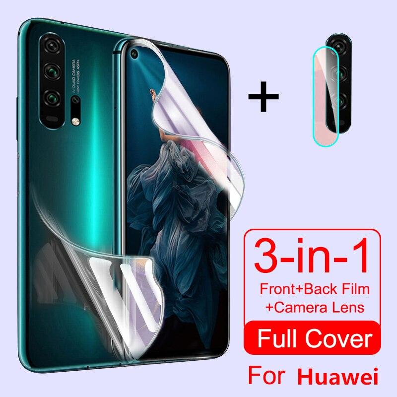 Película protetora de hidrogel para huawei honor 20 pro 8 9 10 lite 8x 9x 10i 8a p inteligente 2019 z nova 5t protetor de tela câmera vidro