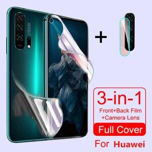 Protective Hydrogel Film For Huawei Honor 20 Pro 8 9 10 Lite 8x 9x 10i 8a P smart 2019 Z Nova 5T Screen Protector Camera Glass()