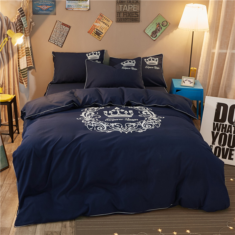 Percale Brushed Microfiber Crown Nordic Duvet/doona Cover King Queen Double Single Size 3pcs Set