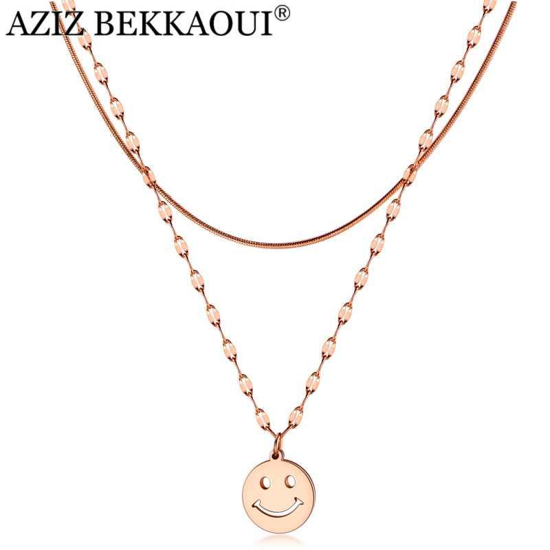 Aziz Bekkaoui Thép Không Gỉ Mặt Cười Đôi Dây Chuyền Vòng Đeo Cổ Cho Nữ Có Mặt Không Bao Giờ Phai Màu Thời Trang Trang Sức Cho Món Quà Dành Tặng Cho Tình Yêu