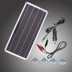 Image 1 - ألواح الطاقة الشمسية المحمولة شبه مرنة 10 واط 18 فولت مع كابل تيار مستمر 5521 لسيارة 12 فولت
