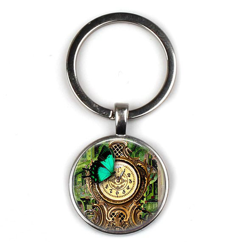 Vintage Steampunk Garden Clock Pendant Keychain Butterfly Garden Glass Crystal Pendant Keyring Car Key Charm Bag Key Chain Gift in Key Chains from Jewelry Accessories