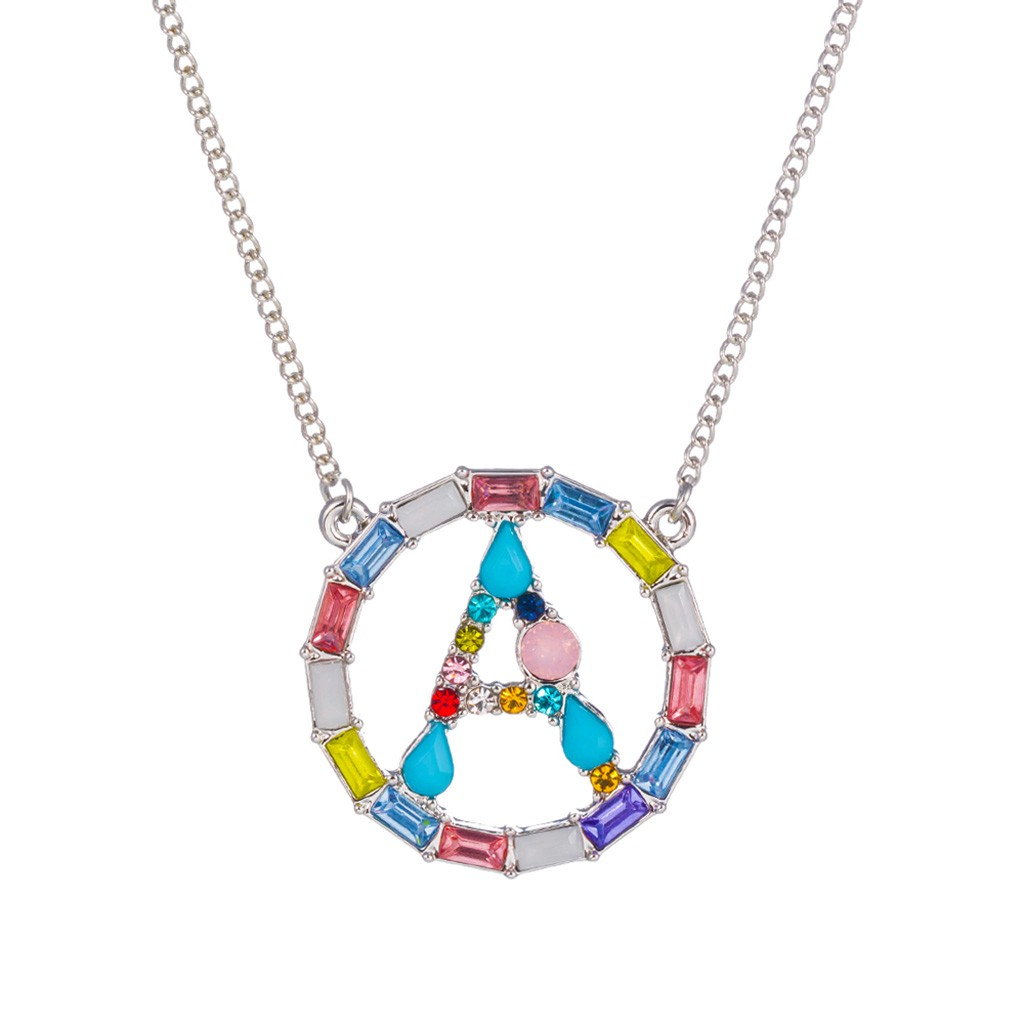 Beautiful Women Necklace Large Initial Choker Colorful Pendants Rhinestones Plated Necklace 26 Letter Pendant Girl Ornaments Set