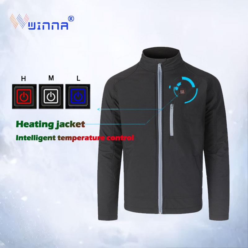 2019 Men USB Heated Jacket Winter Outdoor  Long Hooded Heating CoatWaterproof Windbreaker Men Winter Coat Mens Winter Jacket