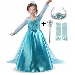 Novo vestido de manga longa menina princesa traje neve vestido de festa meninas roupas vestidos infantil disfraz princesa