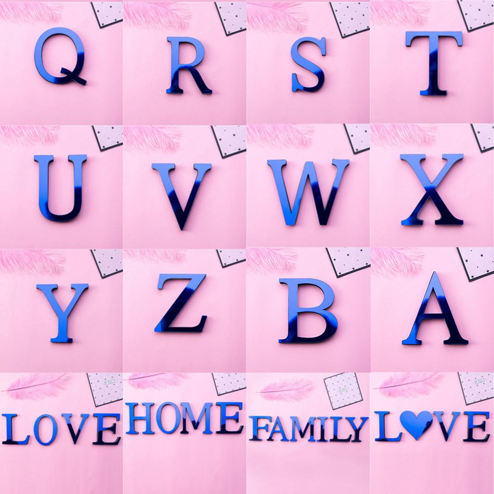 A-Z Alphabet Letter Acrylic Mirror Wall Art Sticker Decal DIY Home Party Holiday Decoration