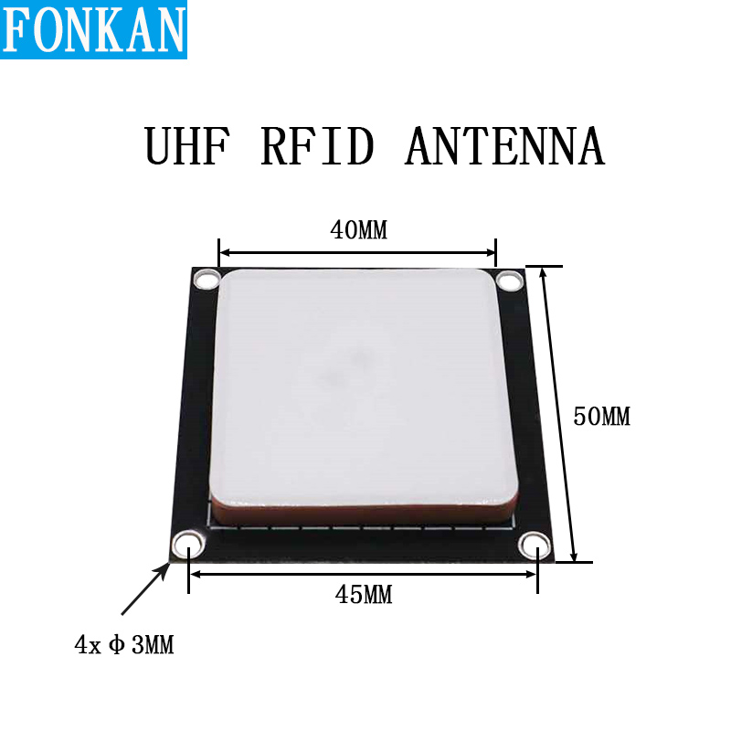 FONKAN 902-928MHz 2dBi Small Uhf Rfid Antenna Ceramic Size 40mm PCB Size 50mm 2 Cable Point Antenna