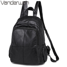 New Black Soft Washed Leather Backpack High Quality Casual Bagpack Ladies Sac a Dos Female Travel Back pack Female Shoulder Bag