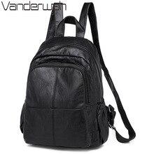 Nowy czarny miękki sprany plecak skórzany wysokiej jakości dorywczo plecak damski Sac a Dos żeński plecak podróżny kobieca torba na ramię