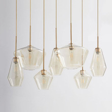Post-modern Led Glass Pendant Lamp Nordic Dining Room Bar Transparent/Champagne Color Hanging Light Fixtures Luminaire