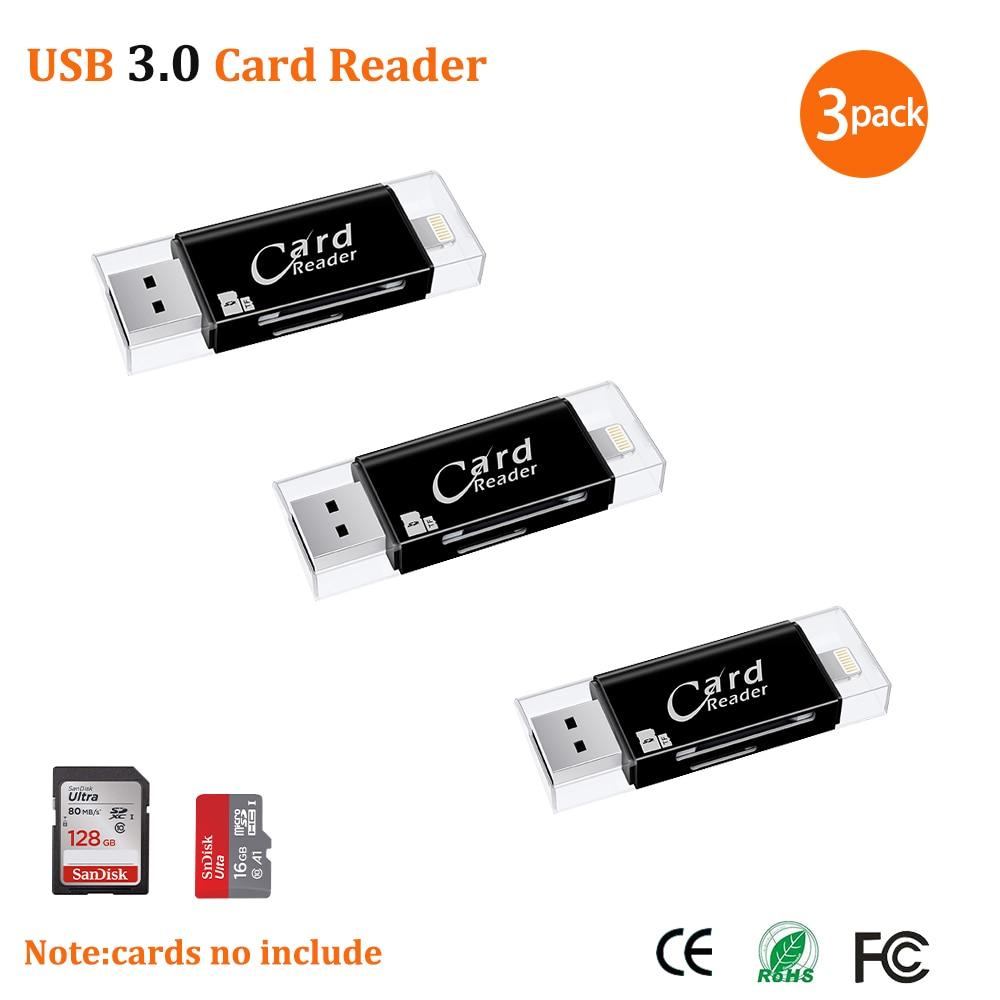 USB 3.0 Lightning Card Reader OTG Flash Drive MicroSD TF Card Memory Card Reader Adapter For IPhone 5 5s 6 7 8 X S6 S7 Edge