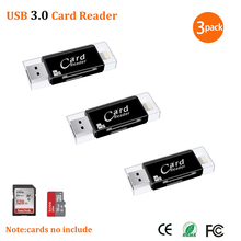 Устройство для чтения карт памяти USB 3,0 Lightning, OTG, флеш накопитель, microSD, TF карта, устройство для чтения карт памяти для iPhone 5, 6, 7, 8, X, S6, S7 Edge