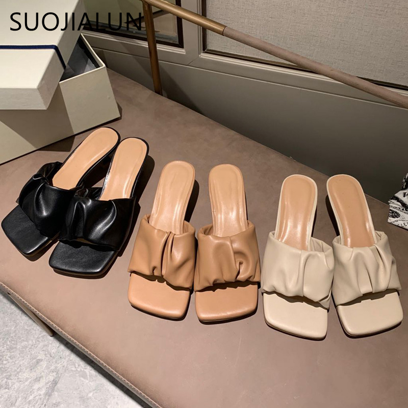 SUOJIALUN 2020 Summer Fashion Women Pleated Slipper Square Toe Thin Low Heel Sandal Outdoor Casual Slides Party Dress Shoes
