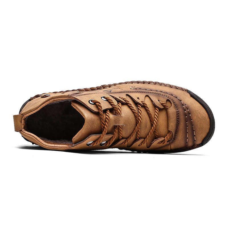 2019 ファッション冬の靴男性暖かい毛皮カジュアル男性ブーツスプリットレザー Wterproof アンクルブーツレースアップゴム屋外ビッグサイズ 48