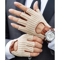 Guantes de cuero tejido para hombre, manoplas de medio dedo para motocicleta, locomotora, de piel de oveja, para conducir, guantes para trabajo automático