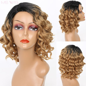 MISS WIG Black Ombre Blonde Color Afro Kinky Curly Wigs For Black Women Synthetic African Fluffy Hair High Temperature Fiber(China)